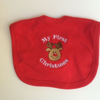 Embroidered My First Christmas Baby Bib